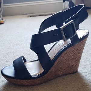 Size 8.5 Jessica Simpson black wedge sandals